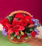 Red flower basket