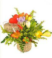 Mini basket with freesias
